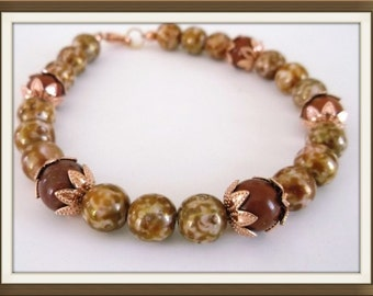 """Autumn Glow - 8"""" Bracelet in Red Jasper Copper and Glass.  One of a kind.  Evokes the warm glow of an autumn day"""