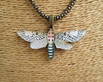 Wooden Butterfly Necklace on Antique Bronze Chain