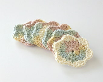 Crochet Face Scrubbies- Facial Cleansing Pads- Drink Coaster- Washcloth- Makeup Removers