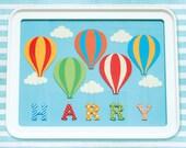 Personalised Custom Made Baby or Child Name Art Print, Hot Air Balloon, Nursery Art