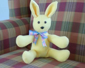Bunny Rabbit Stuffed Animal/Vintage Style Stuffed Bunny/Yellow Fleece Rabbit/Fleece Plush/Kids Toy Plush/Plushie/Sale!