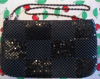 Shimmery Black Metal Mesh Evening Bag with Chain Strap