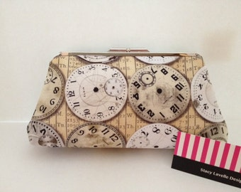 Timepiece Print Clutch Purse with Nickel/Silver Finish Snap Close Frame