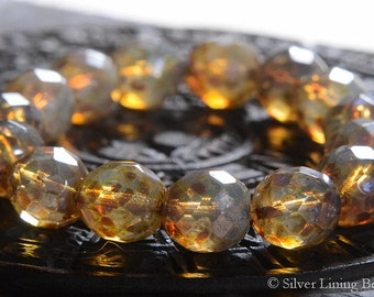 Milky Honey (6) - Czech Glass Bead - 12mm - Faceted Round