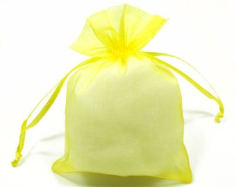 10  7''x9'' Yellow  Organza Jewelry Gift Pouch Bags Great For Wedding favors, sachets, beads, jewelry, and more