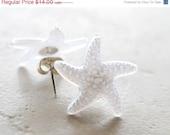 20% Off CIJ Sale White Starfish Earrings, Nautical Jewelry Beach Jewelry Starfish Jewelry