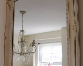 Shabby Chic French country distressed ornate roccoco cream and white hand painted mirror