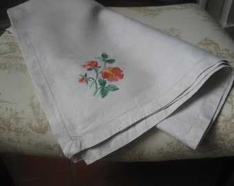Vintage linen tablecloth handmade with floral embroidery and drawn work edge