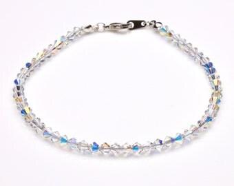 Swarovski Crystal Clear Ab Sterling Silver Anklet
