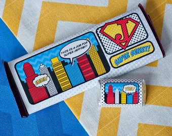 Super Hero Comic Book Chocolate Bar Wrappers - Printable Customized Wrappers
