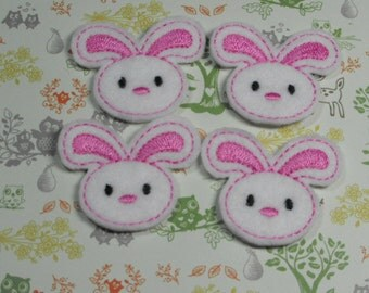 Pink Bunny felties, feltie, machine embroidered, felt applique, felt embellishment, hairbow center, hair bow supplies