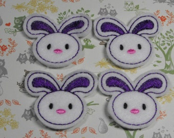 Purple Bunny felties, feltie, machine embroidered, felt applique, felt embellishment, hairbow center, hair bow supplies