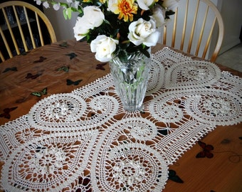 Handmade Bruges Lace crochet rectangular cream tablecloth with flowers