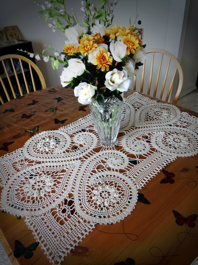 Handmade Bruges Lace Crochet Rectangular Cream By