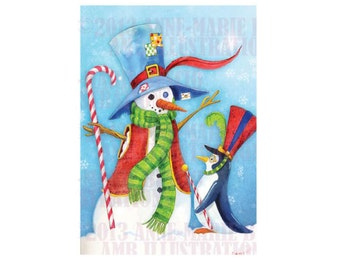 Christmas Card, Greeting Card, Printable Christmas cards, DIY instant download - Maestro the penguin meets snowman, AMB-612