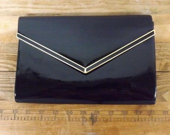 1980's Black Patent Leather Clutch Purse Convertible