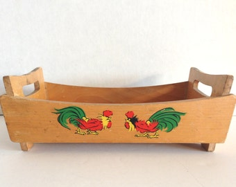 Shabby Chic Vintage Wooden Rooster Tray