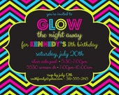 Glow Party 5 x 7 Printable Invitation