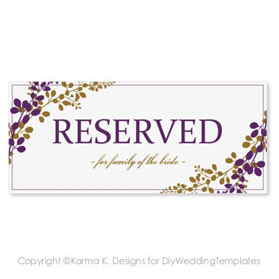 reserved sign template download instantly by diyweddingtemplates. Black Bedroom Furniture Sets. Home Design Ideas