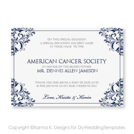 Favor Donation Card Template Download by DiyWeddingTemplates