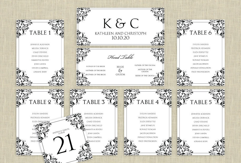 wedding seating plan template word mini bridal. Black Bedroom Furniture Sets. Home Design Ideas