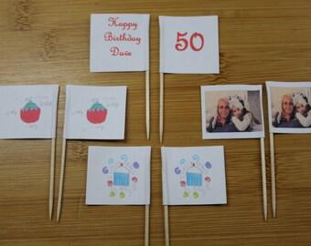 12 Personalised Cupcake Flags, Sandwich Picks