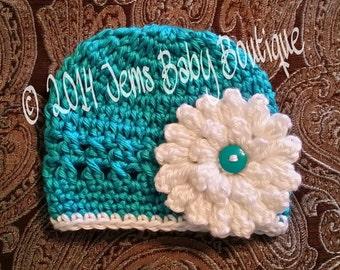 Pretty Aqua Crochet Baby Girl Hat with white flower,  Made to Order , Baby Girl  Hat with Flower,  Photo Prop Beanie