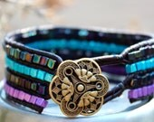 Cuff Wrap Stack Leather Beaded Surf Black Purple Blue Bracelet