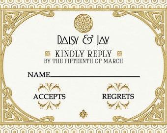 Gatsby Art Deco RSVP Card Wedding White and Gold Printable DIY