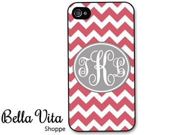 iPhone 4 Case -  Pink Chevron with Grey Monogram iPhone 4s Case, Pretty iPhone 4 Protective Case, Rubber iPhone 4 Cases (4005)