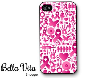 iPhone 4 Case -  Pink Breast Cancer Awareness iPhone 4s Case, iPhone 4 Protective Case, Cases for iPhone 4, Rubber iPhone Case (4047)