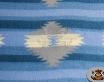 "Fleece Fabric Printed *AZTEC STRIPE blue* / 58"" W / Sold by the yard N-458"