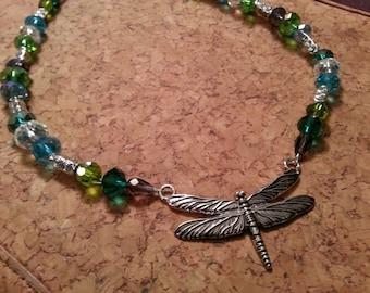 Dragonfly Necklace with Swarovski Crystal Beads