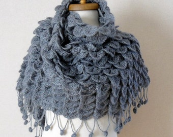 Crochet shawl  Charcoal mohair shawl Gray mohair crocodile shawl