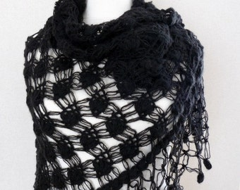 Black Shawl Black Lace Shawl Handmade Black Mohair Shawl Black Crochet Shawl
