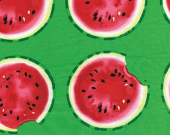 SUPER CLEARANCE! One Yard Mad for Melon - Take a Bite Green - Cotton Quilt Fabric - by Kanvas - Benartex (W239)