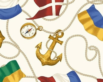 Fat Quarter Sail Away - Anchors and Flags in White - Nautical Cotton  Quilt Fabric - Rosemarie Lavin for Windham Fabrics (W1036)