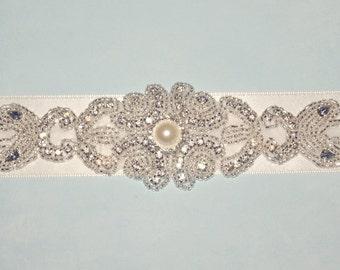 Ivory Bridal Sash, Wedding Sash, Pearl Rhinestone Sash, Bridal Belt, Satin Sash