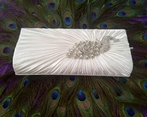 Crystal Peacock Theme Wedding Bridal Clutch, White Satin Bridesmaid Purse, Crystal Brooch, Rhinestone Evening Bag