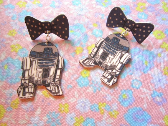 ORIGINAL r2d2 Bow Earrings, Star Wars Jewelry, Star Wars Earrings, Star Wars, Blue Bow, Polka Dot Bows, LARGE