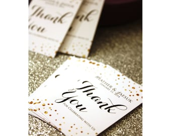 24 Personalized Black, Gold & White Confetti Favor Tags - Weddings, Birthdays, Bridal Showers Celebrations