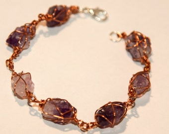 Copper Wire Wire-Wrapped Rough Amethyst Bracelet