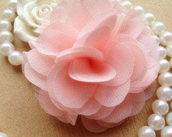 Fluffy Flower Trim in Light Pink Chiffon for Bridal, Headbands,Costume Design