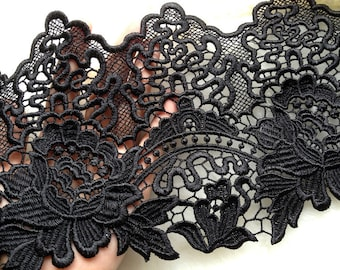 Beautiful Rose Lace Black Venice Lace Trim for  Black Bridal, Altered Clothing, Embellishing, Costume Design
