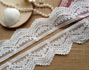 White Embroidery Mesh Lace Trim Pretty Cotton Floral Lace 1.96 Inches wide 2 Yards