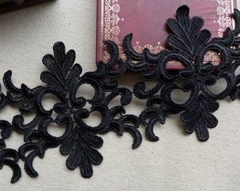 VINTAGE-Style Wedding Bridal Venise Lace in Black For Veils, Applique, Lace Dress, Jewelry or Costume design