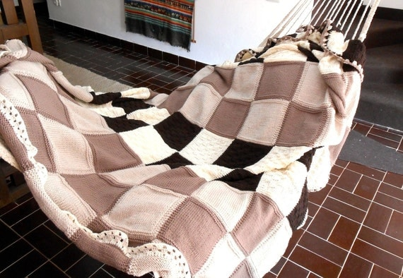Custom made knitted throw, luxury chunky blanket, cottage chic double blanket, double bed cover pure Merino wool, wedding registry blanket