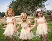 flower girl dress ivory beige flower girl dress girls lace dress lace dress toddler lace dress boho flower girl dress flower girl dress lace