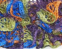 Disco - Sashay Crochet Scarf - Sashay Yarn - Ruffle Scarf Crochet - Womens Scarves - Teens Girls - Handmade Crochet
