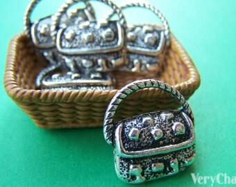 10 pcs of Antique Silver Handbag Charms Pendants 17x18mm A4399